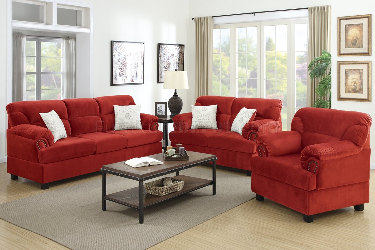 F7918 Sofa Loveseat Amp Chair Set In Red Fabric By Poundex