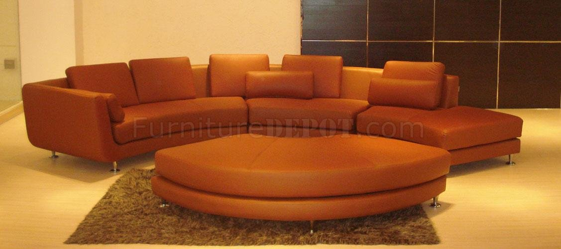 Brown Leather Ultra Modern 4PC Modular Sectional Sofa : modular leather sectional sofa - Sectionals, Sofas & Couches