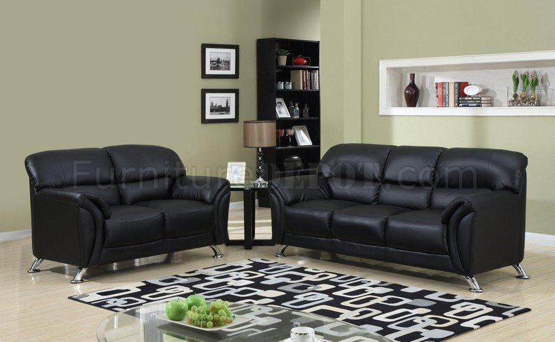 U9103 black vinyl leather modern sofa w chromed metal legs for Reasonably priced living room furniture