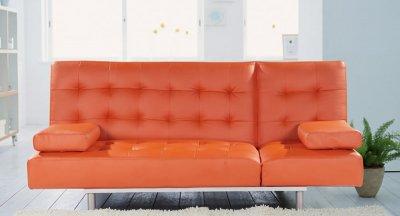 Modern Sofa Bed Convertible Trio Leatherette Orange