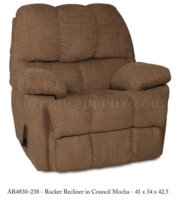 Mocha fabric stylish modern rocker recliner - Stylish rocker recliner ...