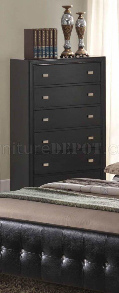 Black Finish Modern Bedroom Set W/Queen Size Bed