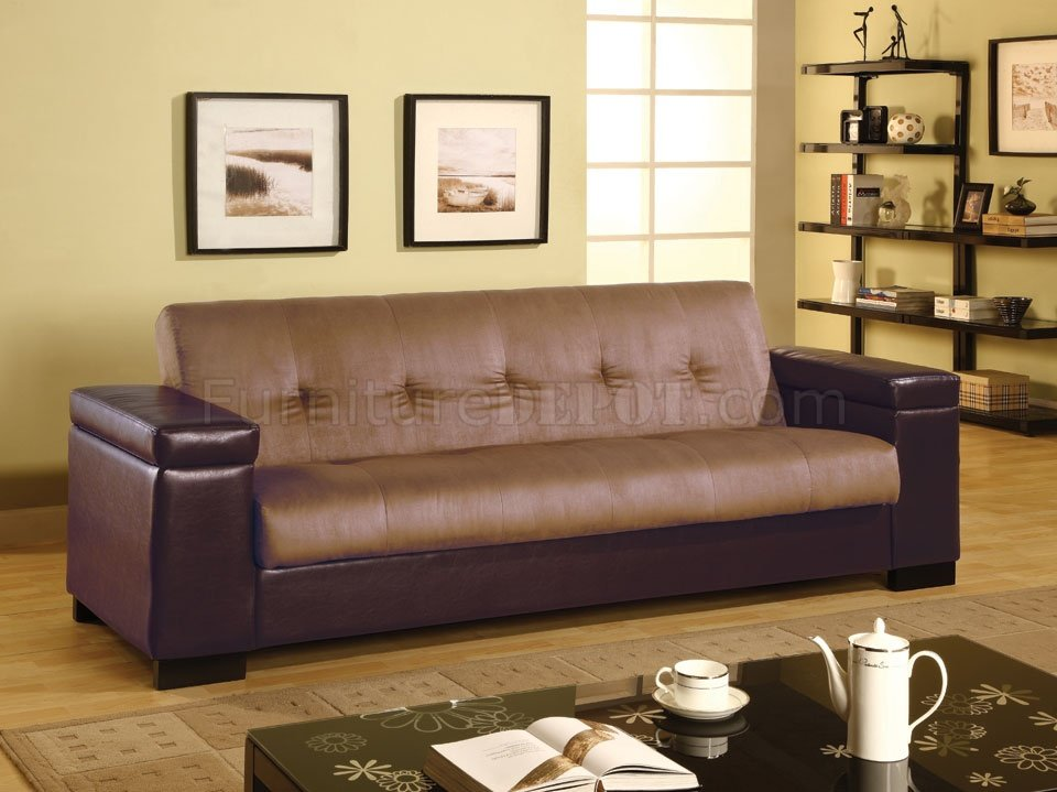 Two Tone Brown And Tan Convertible Sofa Bed W Storage Arms