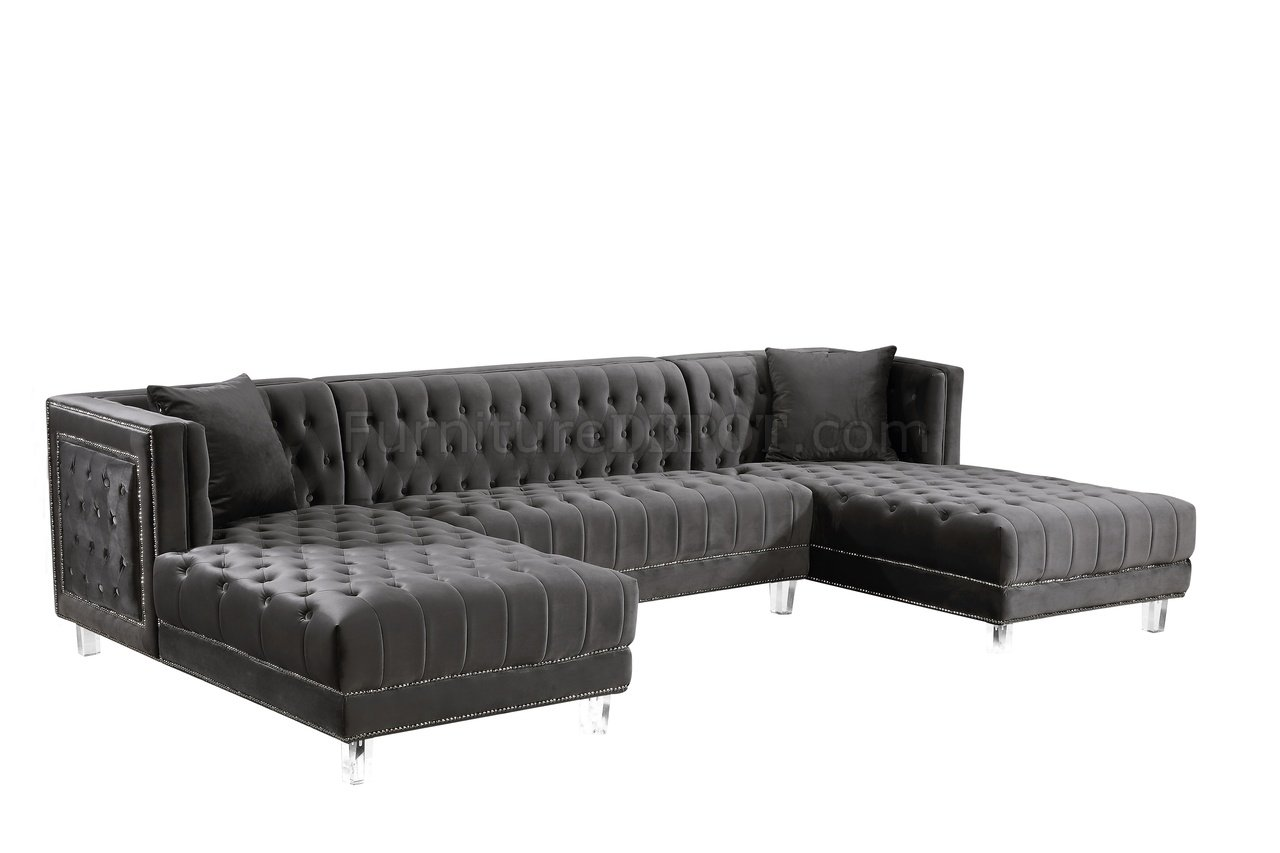 Moda Sectional Sofa 631 In Grey Velvet Fabric By Meridian