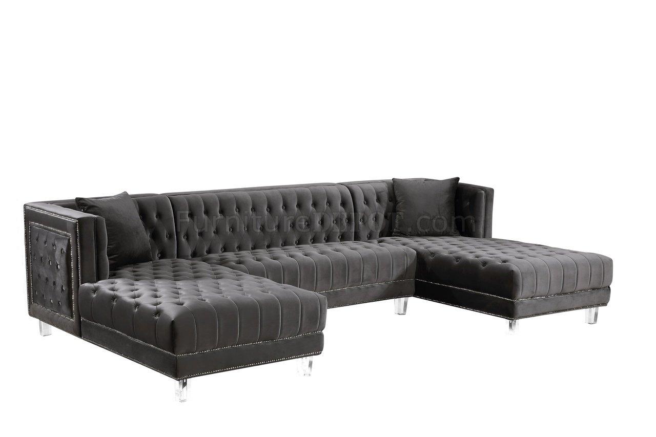 moda sectional sofa 631 in grey velvet fabric by meridian p