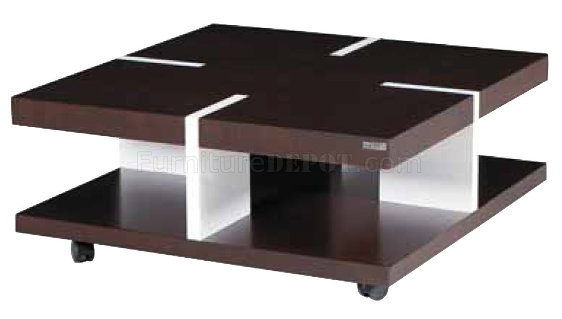 Brown & White Solid Wood Modern Coffee Table w/
