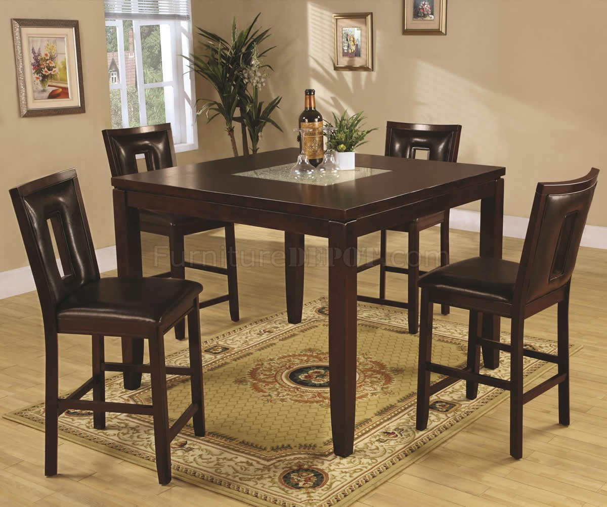 Deep espresso finish modern 5pc counter height dining set for Counter height dining set