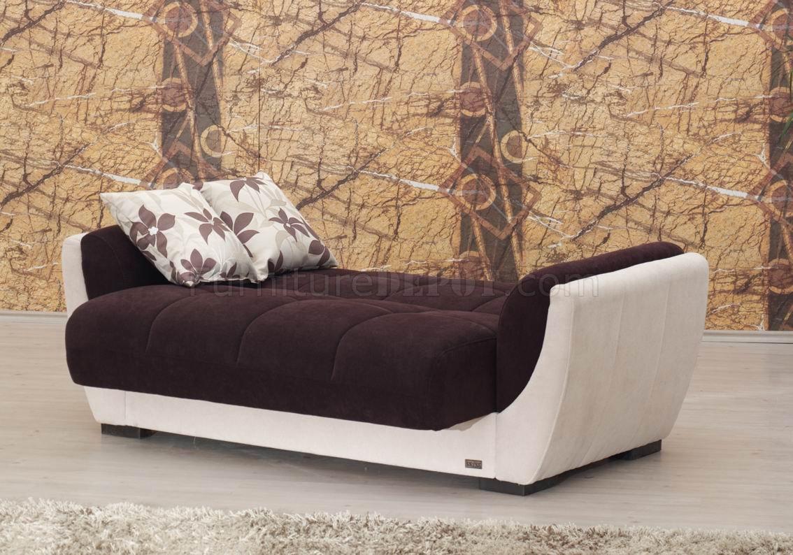 Cream Vinyl Amp Dark Brown Fabric Modern Sofa Bed W Options