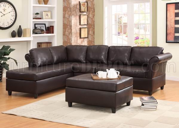 9905sc sectional sofa in dark brown by homelegance for Taylor sectional sofa and ottoman dark brown