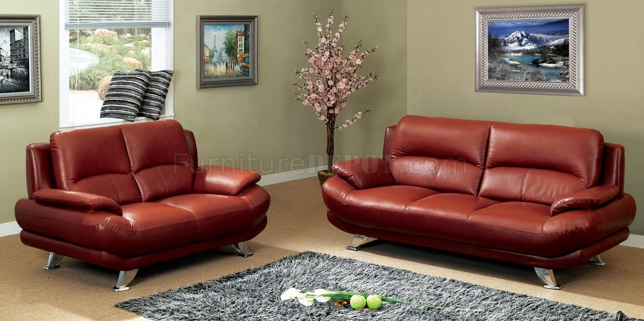 S282-DR Sofa in Dark Red Leather by Pantek w/Options