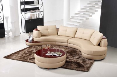 High  Leather Furniture on Beige Leather Modern Sectional Sofa W End Table   Ottoman At Furniture