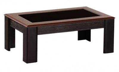 Brown Solid Wood Modern Coffee Table W Glass Top