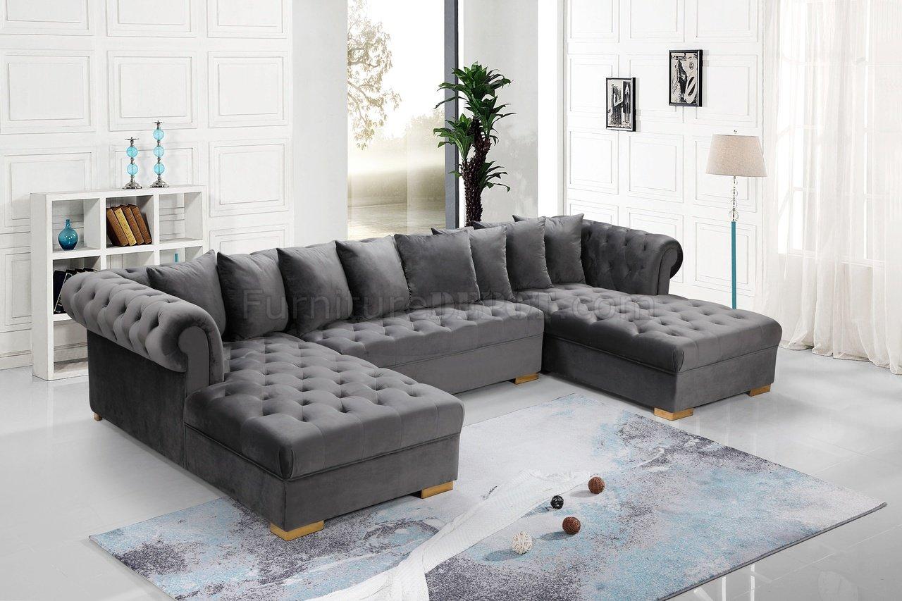 Presley Sectional Sofa 698 In Grey Velvet Fabric By Meridian