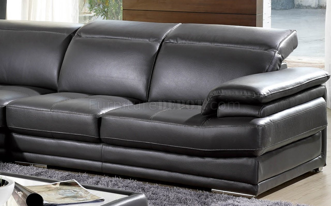 Grey Full Genuine Italian Leather Modern Sectional Sofa - Dark grey leather sectional sofa