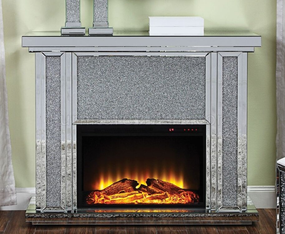 Nowles Fireplace 90457 In Mirror Amp Faux Crystals By Acme