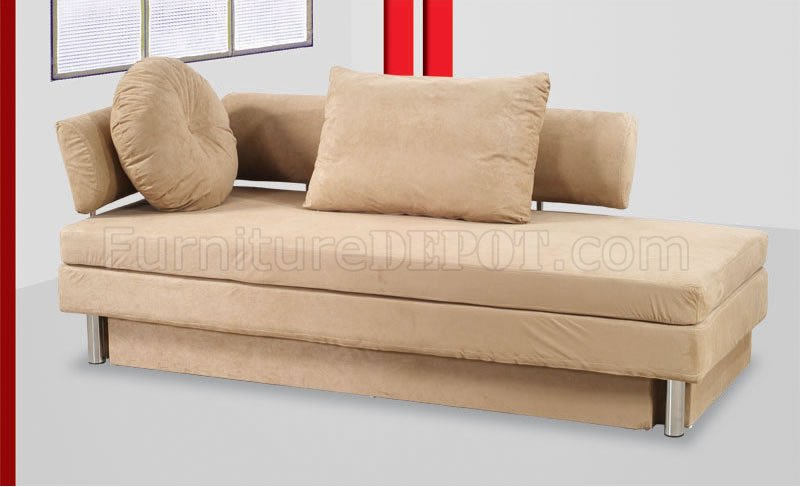 Beige Black Or Red Microfiber Convertible Sofa Bed