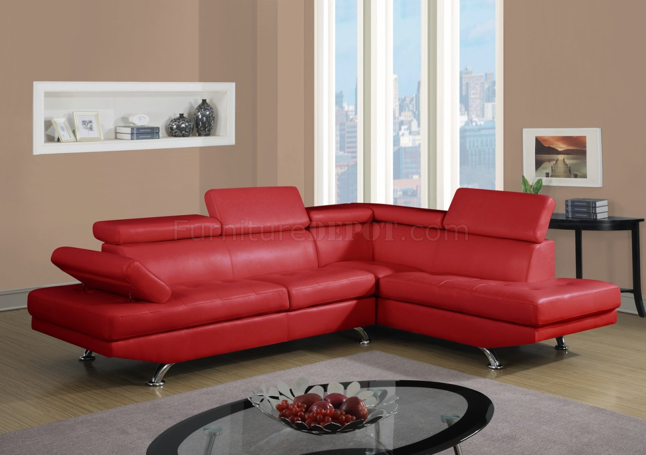 U9782 Sectional Sofa in Red Bonded Leather by Global