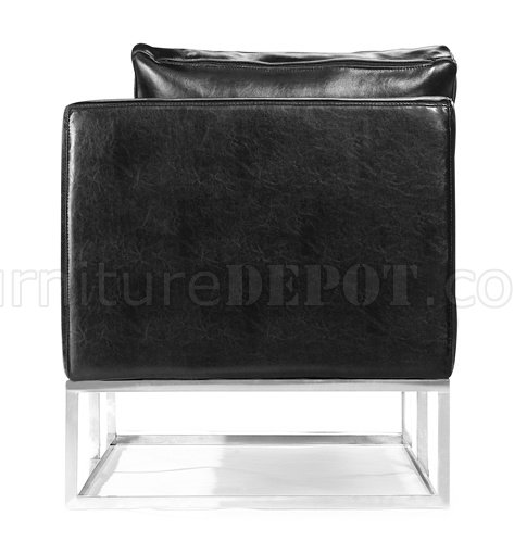 Black Bycast Leather Contemporary Bench With Metal Base