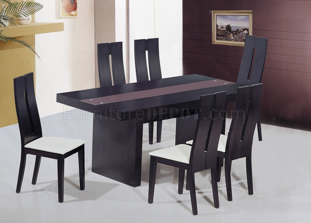 Modern Wenge Finish Dining Table With Glass Inlay