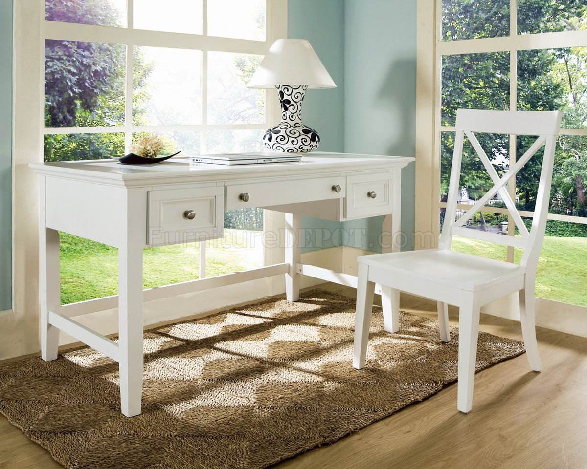 White Finish Modern Home Office Desk & Chair Set