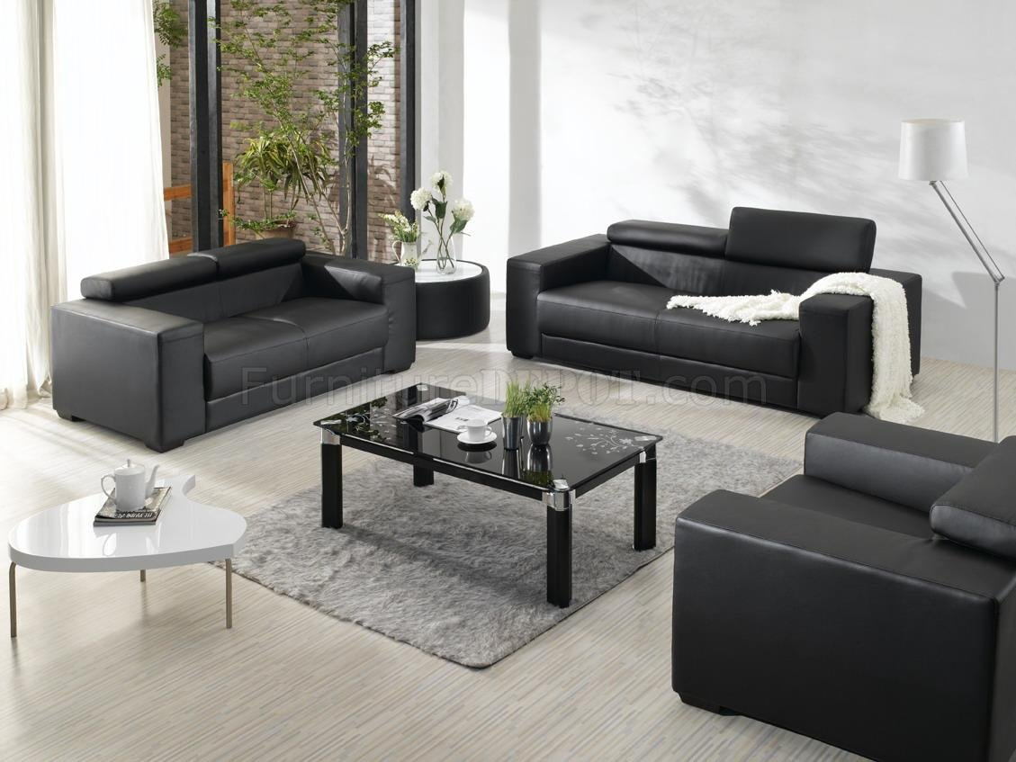Black bonded leather elegant modern 3pc living room set for Black living room furniture sets