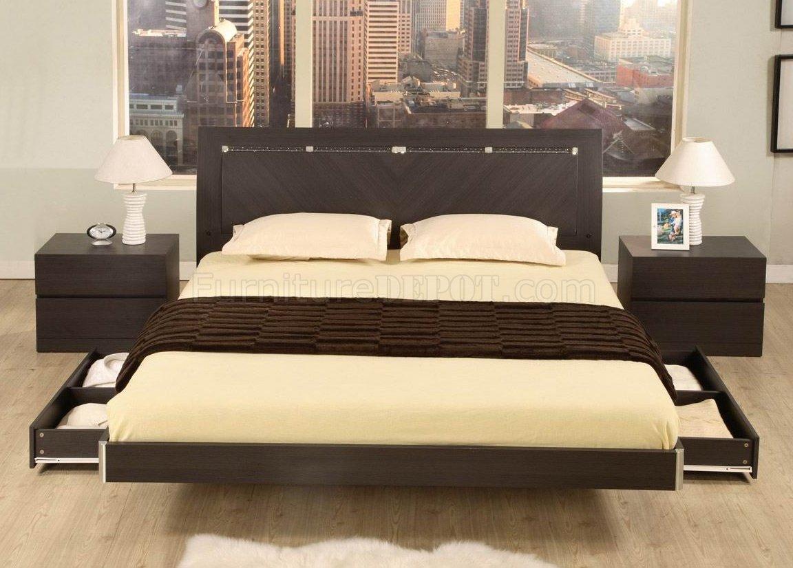 Wenge Finish Contemporary 5pc Stylish Bedroom Set