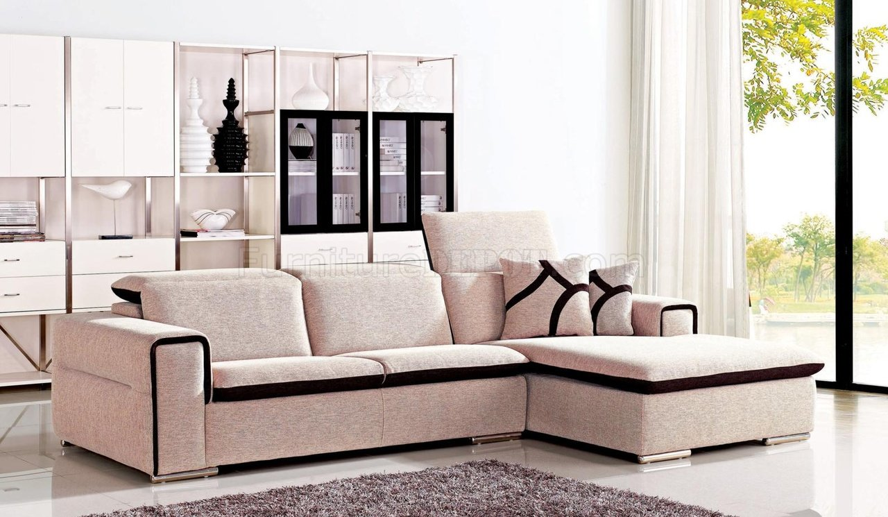 blissful beige 2pc sectional sofa in fabric by chelsea p