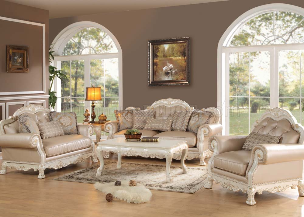 Cool Dresden Sofa In Antique Style White Pu Leather By Acme W Options Dailytribune Chair Design For Home Dailytribuneorg