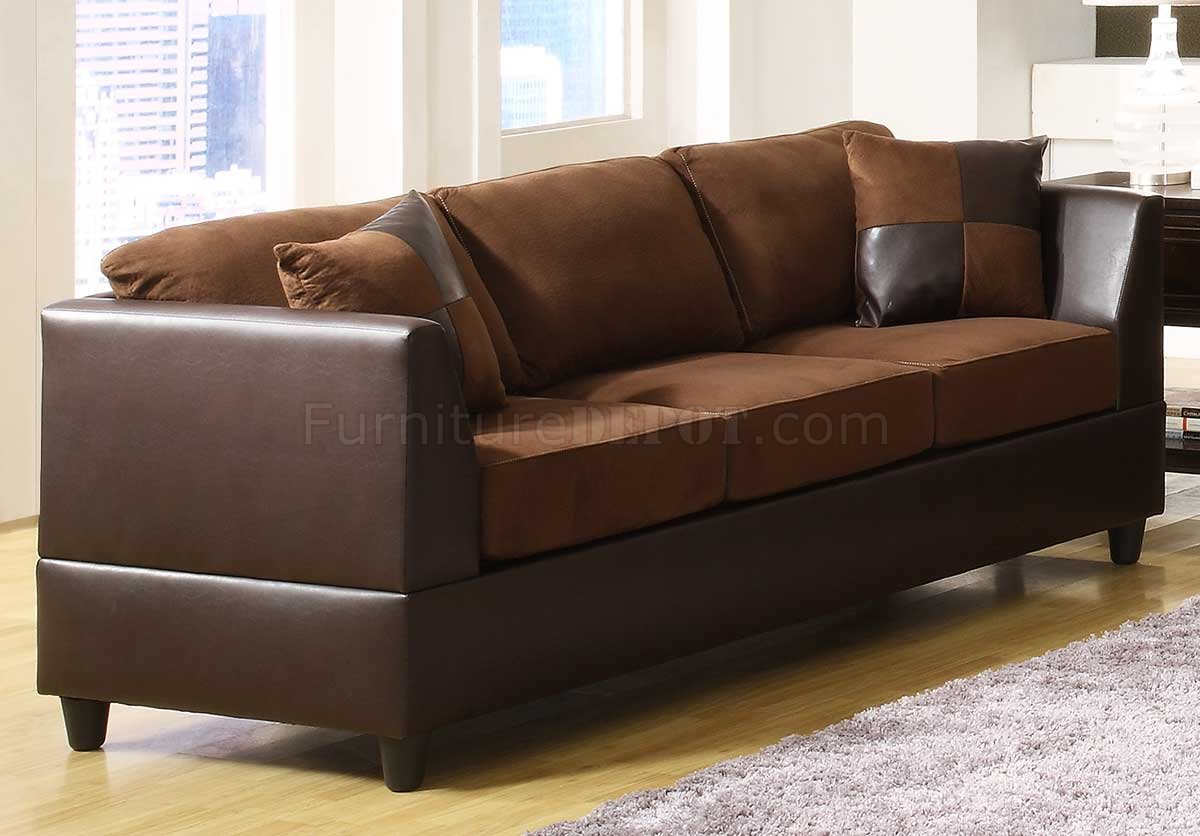 Chocolate rhino microfiber dark brown bi cast sofa w options for Chocolate brown microfiber sectional sofa