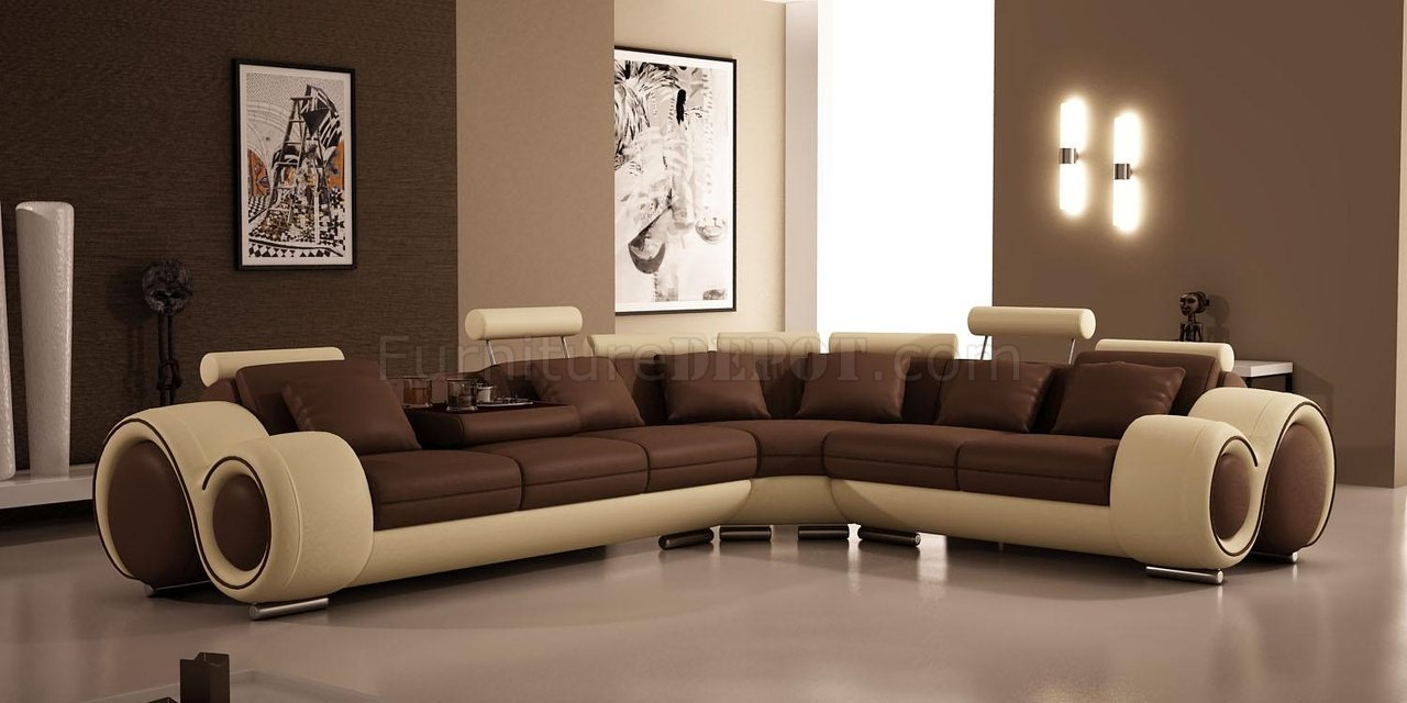 4087 Sectional Sofa By Vig In Brown Tan Bonded Leather