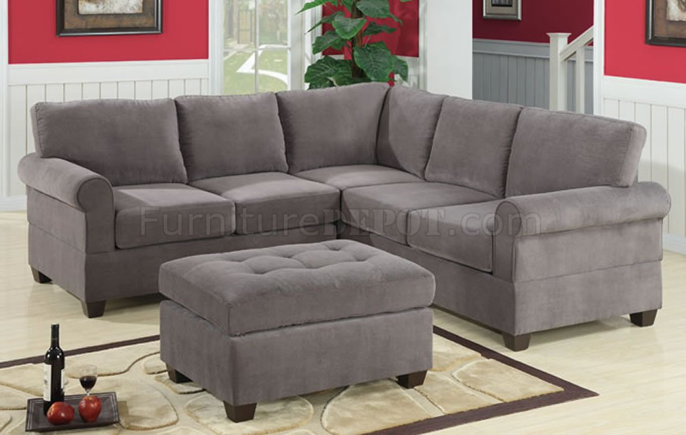charcoal waffle suede casual modern sectional sofa woptions p