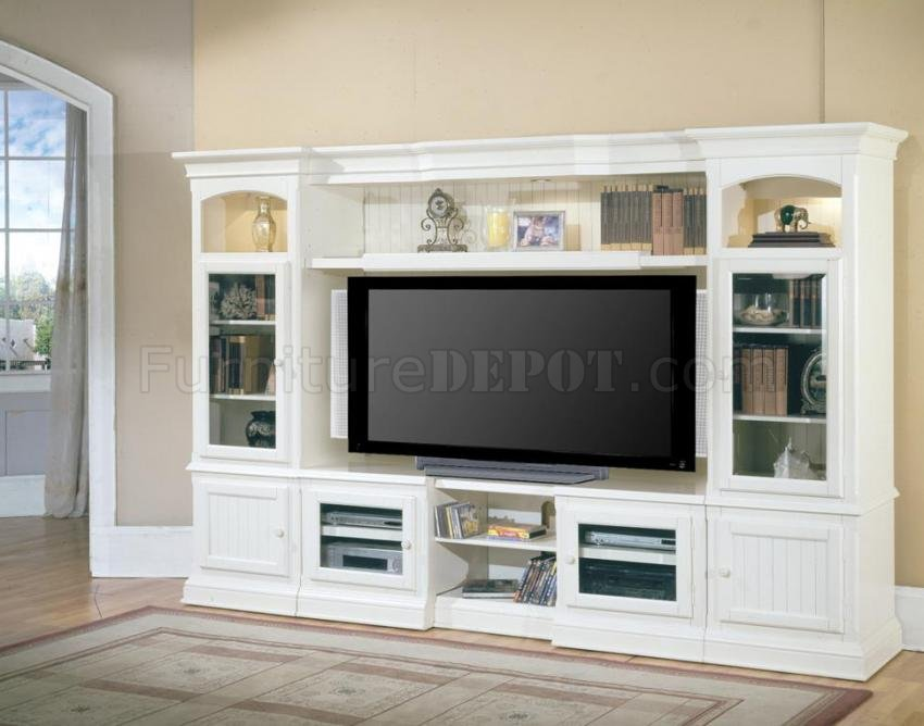 Vintage white modern hartford expandable entertainment How to build an entertainment wall unit