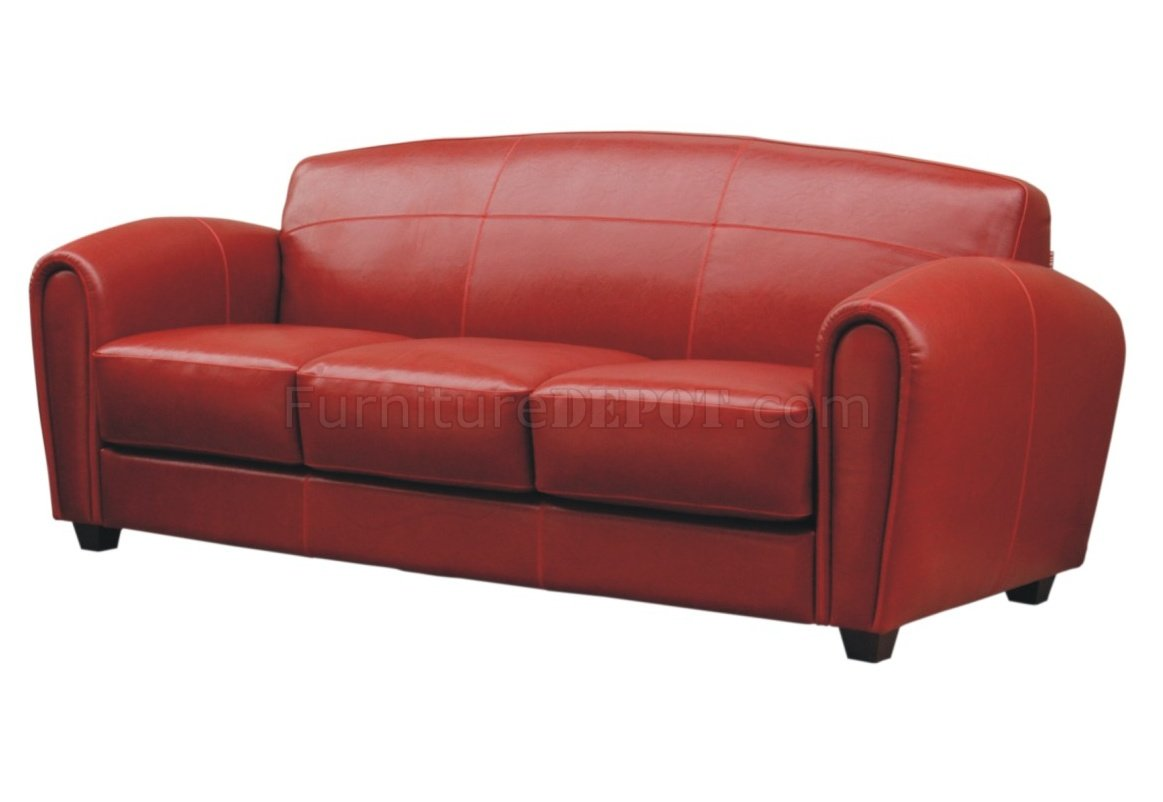Red Leather Classic Living Room Sofa W Options