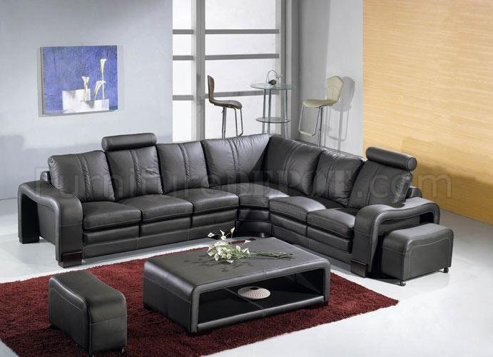 Black Leather Modern Sectional Sofa W Coffee Table VGSS 3330 Black