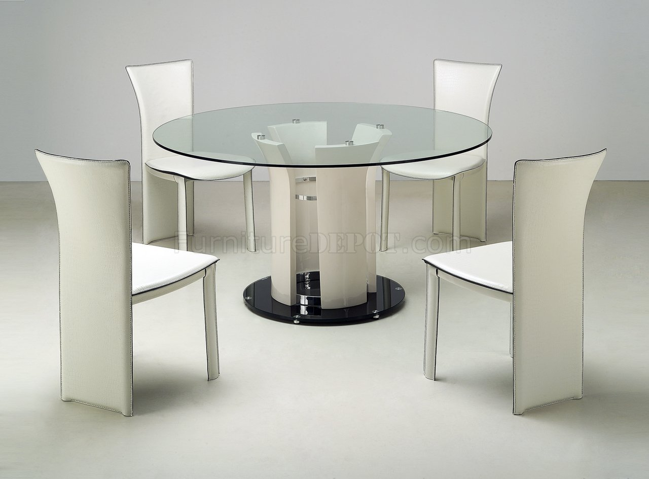 Clear round glass top modern dining table w optional chairs - White table with glass top ...