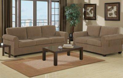 Tan Corduroy Fabric Modern Sofa Amp Loveseat Set W Wooden Legs