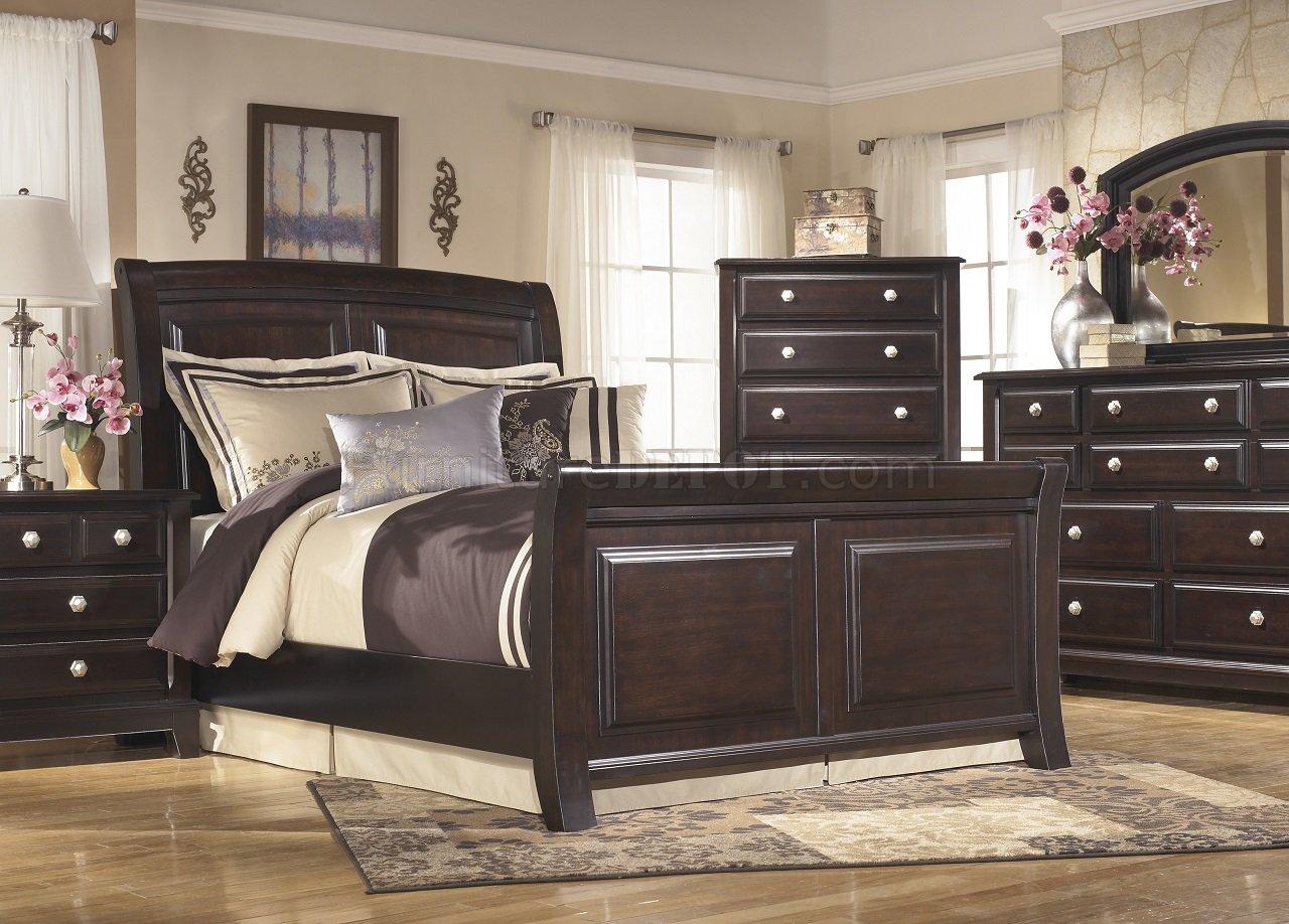 Ridgley Bedroom B520 W Sleigh Bed In Dark Brown By Ashley