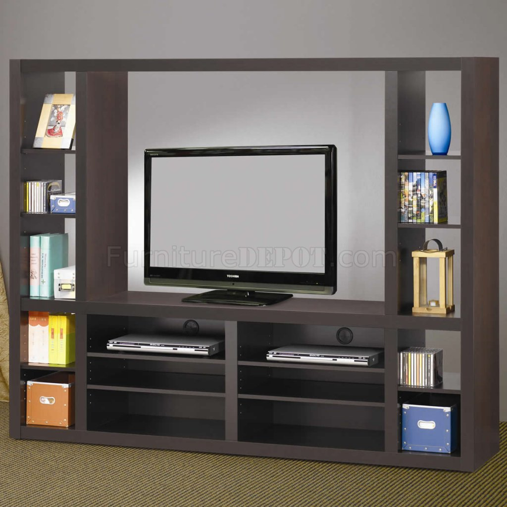 Cappuccino Finish Modern Entertainment Wall Unit W Shelves