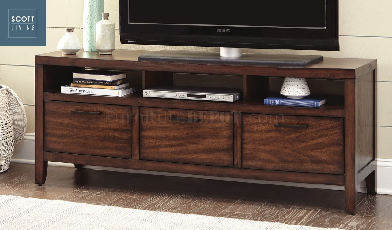 Silas TV Stand 701060 In Warm Brown   Scott Living By Coaster