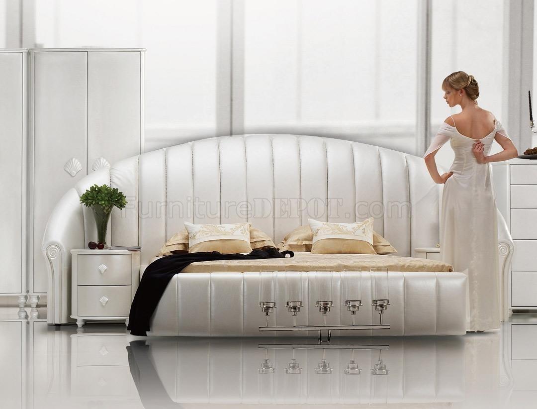 white tufted leatherette modern bedroom set vgbs seashell