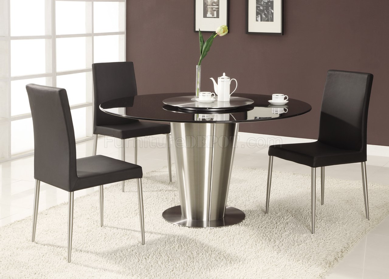 Black marble round top modern dining table for Dining table set