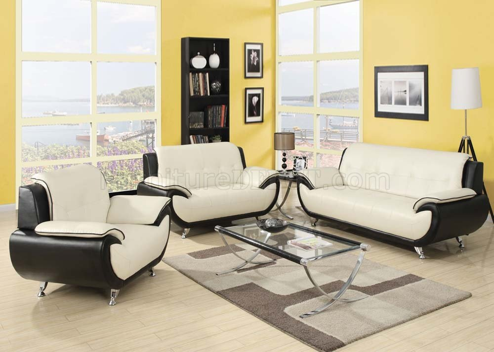 Contemporary Bedroom Set London Black By Acme Furniture: 50765 Olivette Sofa In Cream & Black Bonded Leather By Acme