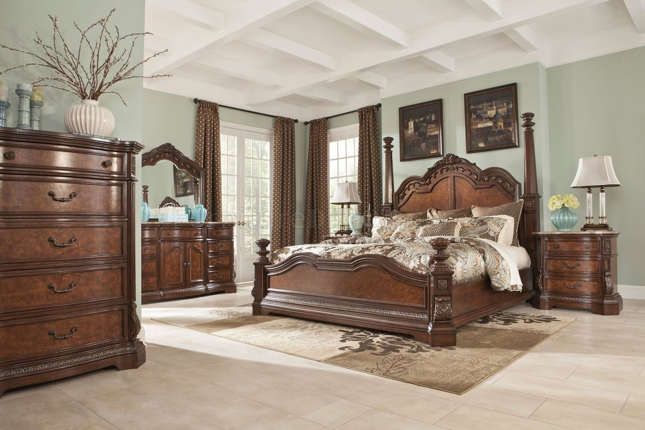 Ledelle Bedroom B705 In Brown W Poster Bed By Ashley Furniture
