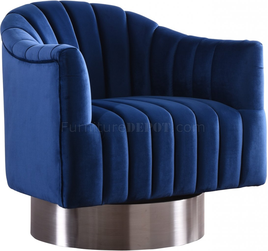 Farrah Accent Chair 519 In Navy Velvet Fabric By Meridian