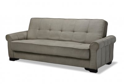 Delux Mocha Microfiber Sleeper Sofa With Storage