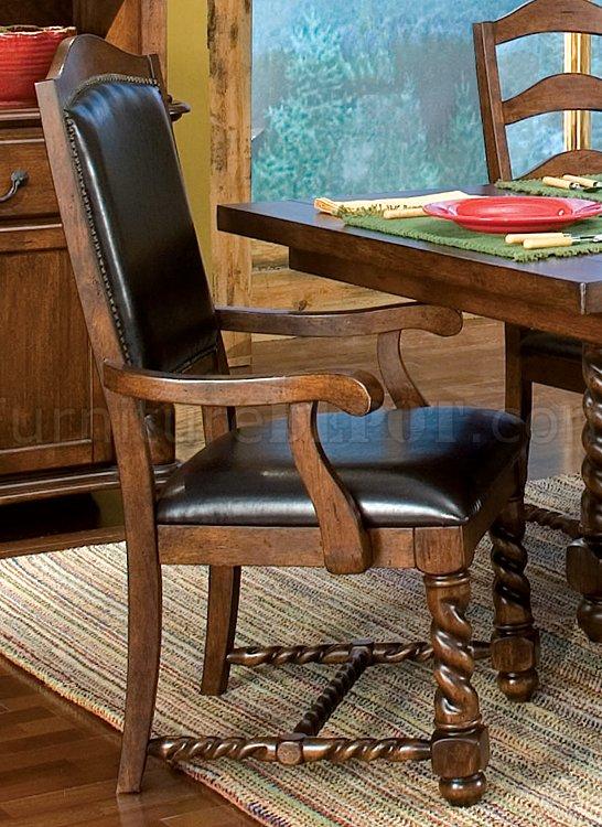 Walnut Finish Casual Dining Room W Rope Twist Pedestal Legs