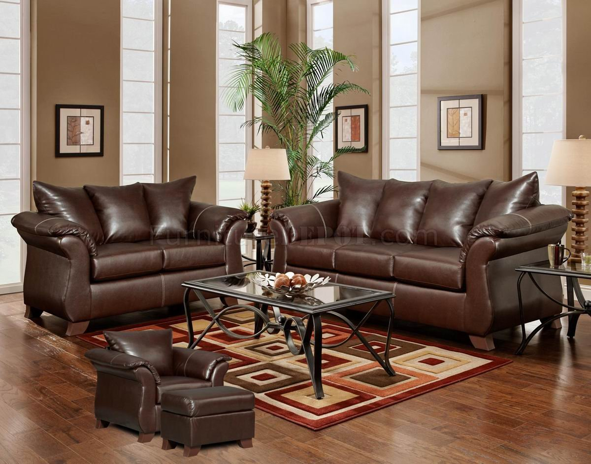 mahogany living room furniture.  Mahogany Bonded Leather Modern Loveseat Sofa w Options