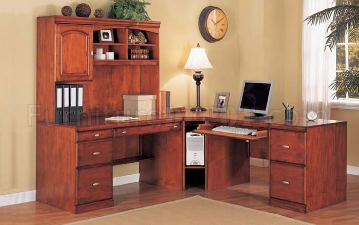 cherry color contemporary l shape home office desk