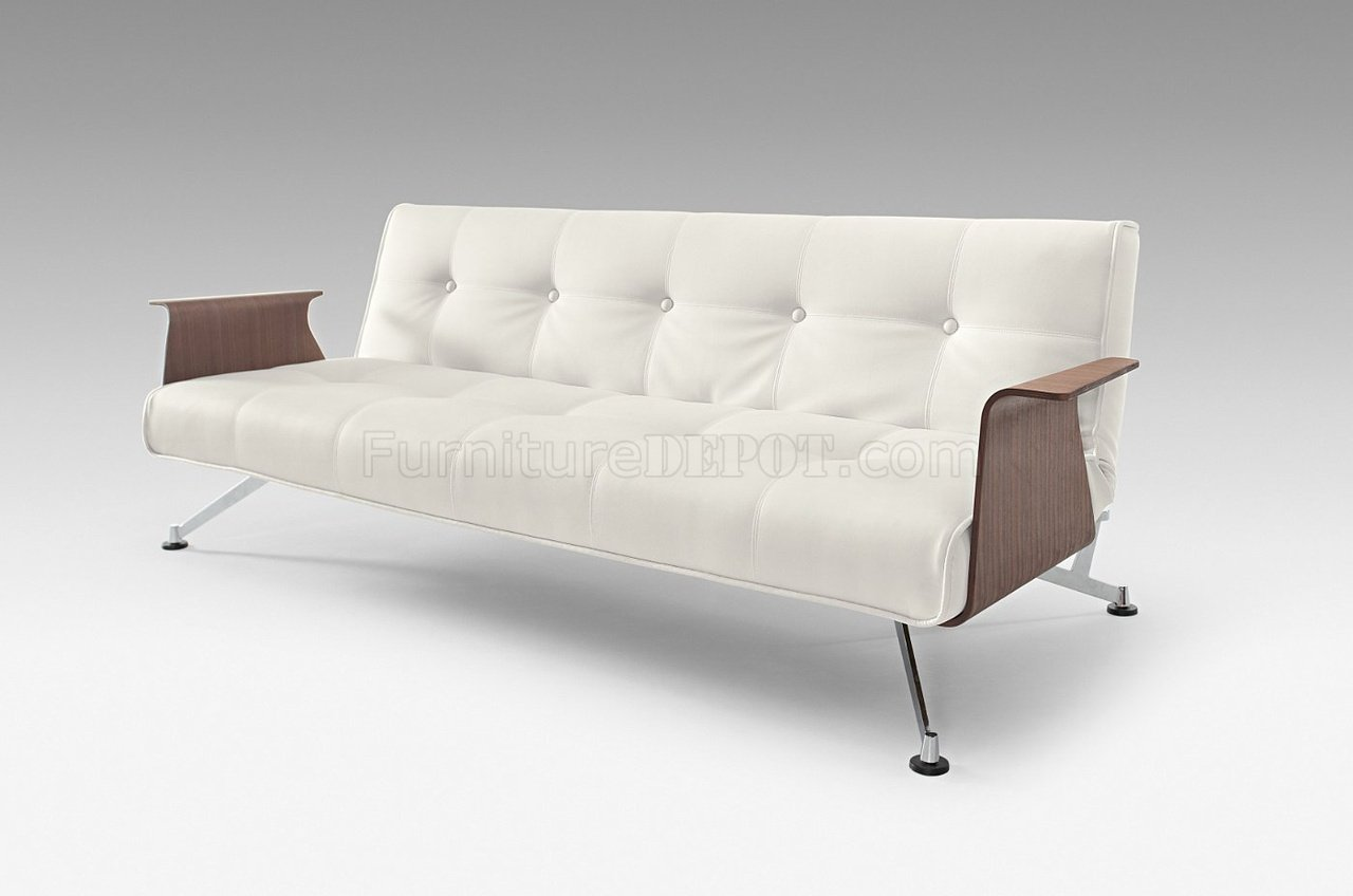White Full Leatherette Modern Convertible Sofa Bed w Walnut Arms