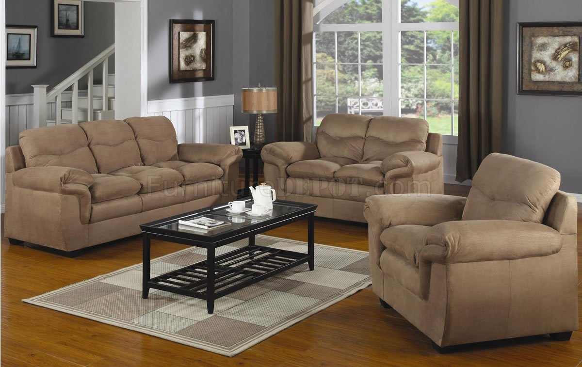 Mocha Microfiber Contemporary Comfortable Living Room